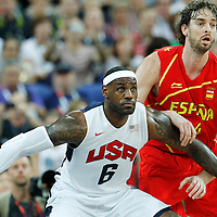 12 August 2012: USA LeBron James defends on Pau Gasol during 107-100 Team USA victory over Team Spain, during the men's Gold Medal Game, at the North Greenwich Arena, in London, Great Britain.