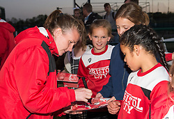 Frankie Brown of Bristol City Women signs a fan's programme - Mandatory by-line: Paul Knight/JMP - 09/05/2017 - FOOTBALL - Stoke Gifford Stadium - Bristol, England - Bristol City Women v Manchester City Women - FA Women's Super League Spring Series