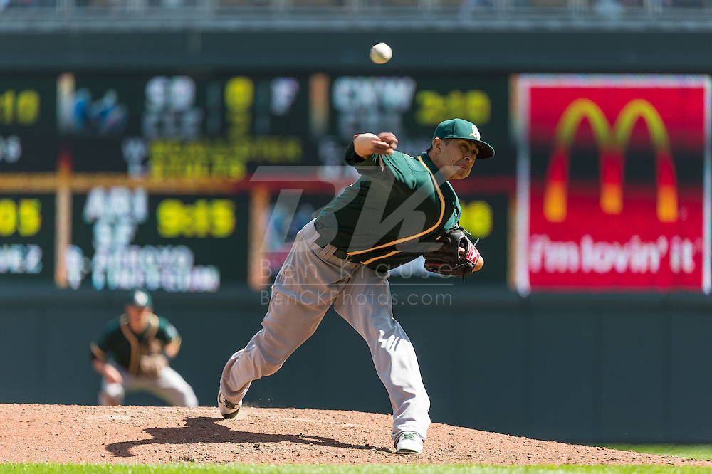 Jesse Chavez #60 of the Oakland Athletics pitches against the Minnesota Twins on April 9, 2014 at Target Field in Minneapolis, Minnesota.  The Athletics defeated the Twins 7 to 4.  Photo by Ben Krause
