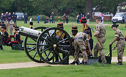 Hyde Park, London, June 2nd 2016. Soldiers and guns of the King's Troop Royal Horse Artillery fire a 41 round Royal Salute to mark the 63rd anniversary of the coronation of Britain's Monarch HM Queen Elizabeth II. PICTURED: Soldiers attempt to get gun number five working.