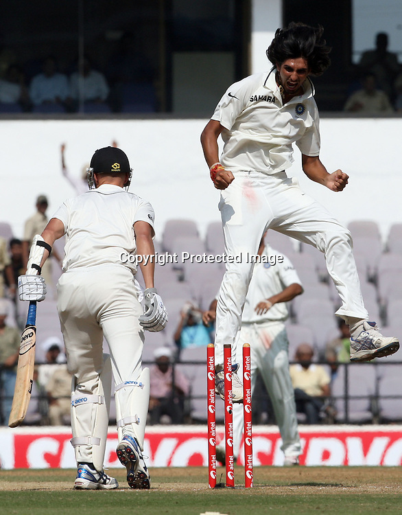 Indian bowler Ishant Shrama Celebrates Chris Martin wicket during the 3rd test match India vs New Zealand day-4 Played at Vidarbha Cricket Association Stadium, Jamtha, Nagpur, 23 November 2010 (5-day match)November 2010 (5-day match)