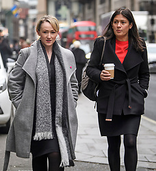 © Licensed to London News Pictures. 24/01/2020. London, UK. Labour Leadership candidates REBECCA LONG BAILEY and LISA NANDY are seen arriving for a Unite Union executive meeting in London, where Unite Union are expected to back a candidate in the Labour Party leadership election. Current leader Jeremy Corbyn announced he would step aside after Labour lost an 80 seat majority to the Conservatives in a general election. Photo credit: Ben Cawthra/LNP