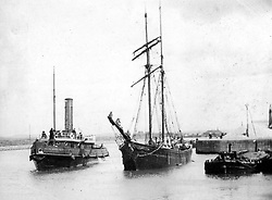 "© Licensed to London News Pictures. 04/05/2016. Birkenhead UK. Collect picture shows the Ralph Brocklebank (Daniel Adamson) in Ellesmere Port in the early 1900's. The Daniel Adamson steam boat has been bought back to operational service after a £5M restoration. The coal fired steam tug is the last surviving steam powered tug built on the Mersey and is believed to be the oldest operational Mersey built ship in the world. The ""Danny"" (originally named the Ralph Brocklebank) was built at Camel Laird ship yard in Birkenhead & launched in 1903. She worked the canal's & carried passengers across the Mersey & during WW1 had a stint working for the Royal Navy in Liverpool. The ""Danny"" was refitted in the 30's in an art deco style. Withdrawn from service in 1984 by 2014 she was due for scrapping until Mersey tug skipper Dan Cross bought her for £1 and the campaign to save her was underway. Photo credit: Andrew McCaren/LNP ** More information available here http://tinyurl.com/jsucxaq **"