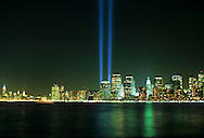 Tribute in Light, 9/11 Memorial, Manhattan, New York City, New York, USA Twin Towers, World Trade Center, designed by Minoru Yamasaki, International Style II