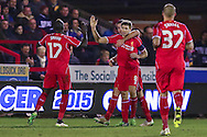 Steven Gerrard of Liverpool celebrates scoring his second goal of the game against AFC Wimbledon to make it 0-2 during the FA Cup match at the Cherry Red Records Stadium, Kingston<br /> Picture by David Horn/Focus Images Ltd +44 7545 970036<br /> 05/01/2015