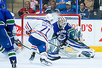 PENTICTON, CANADA - SEPTEMBER 16: Kyle Platzer #71 of Edmonton Oilers takes a shot on Thatcher Demko #35 of the Vancouver Canucks on September 16, 2016 at the South Okanagan Event Centre in Penticton, British Columbia, Canada.  (Photo by Marissa Baecker/Shoot the Breeze)  *** Local Caption *** Kyle Platzer; Thatcher Demko;