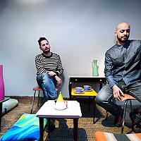 Nederland, Amsterdam , 6 december 2012..Julien Rademaker  en Samir initiatiefnemers van de expositie die zij hebben georganiseerd over onverkochte meubels op Marktplaats op locatie The Bacardi House Oudezijds Achterburgwal 60-62...Foto:Jean-Pierre Jans