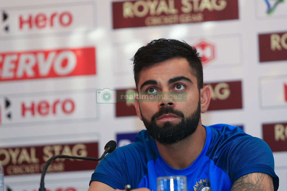 July 20, 2017 - Colombo, Sri Lanka - Indian cricket captain Virat Kohli speaks during  a press conference at Colombo, Sri Lanka on Thursday 20 July 2017...India will play 3 test matches, 5 ODI matches and a T20 match against Sri Lanka from  26 th July  onwards. (Credit Image: © Tharaka Basnayaka/NurPhoto via ZUMA Press)