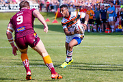 Bradford Bulls Johnny Campbell (19) steps in off his wing  during the Kingstone Press Championship match between Batley Bulldogs and Bradford Bulls at the Fox's Biscuits Stadium, Batley, United Kingdom on 16 July 2017. Photo by Simon Davies.