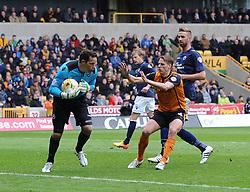 Millwall's David Forde saves a Bakary Sako ball - Photo mandatory by-line: Paul Knight/JMP - Mobile: 07966 386802 - 02/05/2015 - SPORT - Football - Wolverhampton - Molineux Stadium - Wolverhampton Wanderers v Millwall - Sky Bet Championship