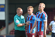 Paddy Madden after foul during the Sky Bet League 1 match between Scunthorpe United and Millwall at Glanford Park, Scunthorpe, England on 22 August 2015. Photo by Ian Lyall.