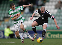 Photo: Lee Earle.<br /> Yeovil Town v Swansea City. Coca Cola League 1. 24/02/2007.Swansea's Ian Craney (R) battles with Yeovil's Chris Cohen.