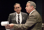 Jamie McQuinn (left) and Saul Caplan during a dress rehearsal of A Case of Libel at the Dayton Theatre Guild in Dayton, Wednesday, May 19, 2010.