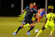VSI Tampa Bay FC forward Mauricio Salles (23) in action against Antigua Barracuda in a USL Pro soccer match at Plant City stadium in Plant City, Florida on June 7, 2013. VSI won 8-0.<br /> <br /> ©2013 Scott A. Miller