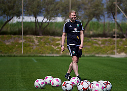 LARNACA, CYPRUS - Thursday, March 1, 2018: Wales' manager Jayne Ludlow during a training session in Larnaca on day three of the Cyprus Cup tournament. (Pic by David Rawcliffe/Propaganda)