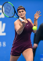SHENZHEN, Jan. 5, 2019  Aryna Sabalenka of Belarus competes during the final match against Alison Riske of the United States at the WTA Shenzhen Open tennis tournament in Shenzhen, south China's Guangdong Province, Jan. 5, 2019. Aryana Sabalenka won 2-1 and claimed the title. (Credit Image: © Xinhua via ZUMA Wire)
