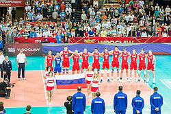 10.09.2014, Century Hall st. Wystawowa 1, Breslau, POL, FIVB WM, Finnland vs Russland, im Bild Rosja prezentacja hymn // during the FIVB Volleyball Men's World Championships Pool A Match beween Finland and Russia at the Century Hall st. Wystawowa 1 in Breslau, Poland on 2014/09/10. EXPA Pictures © 2014, PhotoCredit: EXPA/ Newspix/ Sebastian Borowski<br /> <br /> *****ATTENTION - for AUT, SLO, CRO, SRB, BIH, MAZ, TUR, SUI, SWE only*****
