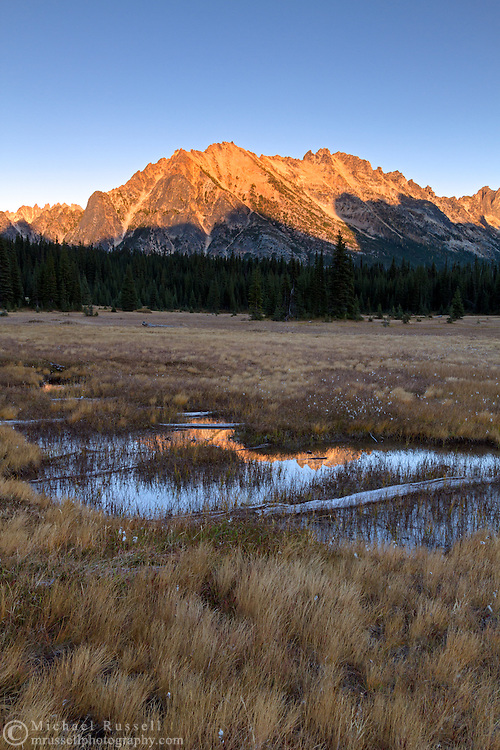 Kangaroo Ridge is reflected on the small streams in the meadows of Washington Pass in the North Cascades of the Okanogan-Wenatchee National Forest in Washington State, USA.
