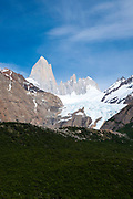View of the Piedras Blancas Glacier and  El Chalten/Mount Fitz Roy, Los Glaciares National Park, Santa Cruz Province, Argentina
