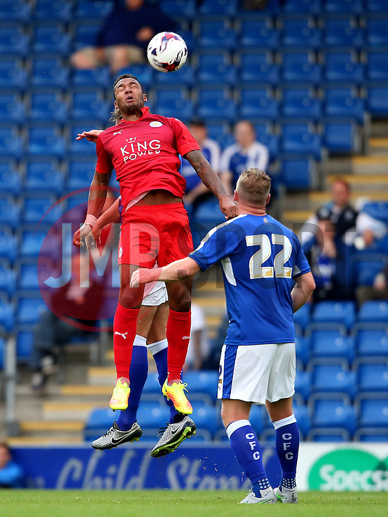 Liam Moore of Leicester City wins a header - Mandatory by-line: Matt McNulty/JMP - 02/08/2016 - FOOTBALL - Pro Act Stadium - Chesterfield, England - Chesterfield v Leicester City - Pre-season friendly