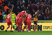 Nottingham Forest celebrate goal scored by Nottingham Forest forward Joe Lolley (23) to go 0-2 during the EFL Sky Bet Championship match between Hull City and Nottingham Forest at the KCOM Stadium, Kingston upon Hull, England on 24 November 2018.