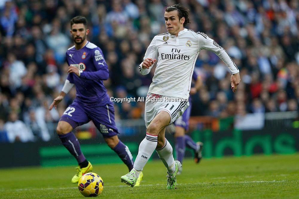 10.01.2014. Madrid, Spain.  Gareth  Bale Midfielder of Real Madrid .  La Liga  match played between Real Madrid versus Espanyol at Santiago Bernabeu stadium.