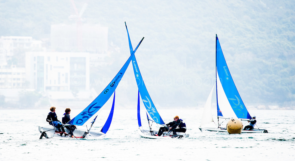 Teams in action during Boase Cohen & Collins Interschool's Sailing Festival 2016 on 04 March of 2016 at Kings Middle Island in Hong Kong, China. Photo by Aitor Alcalde