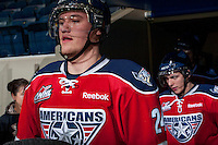 KELOWNA, CANADA -FEBRUARY 19: Jackson Playfair #24 of the Tri City Americans enters the ice against the Kelowna Rockets on February 19, 2014 at Prospera Place in Kelowna, British Columbia, Canada.   (Photo by Marissa Baecker/Getty Images)  *** Local Caption *** Jackson Playfair;