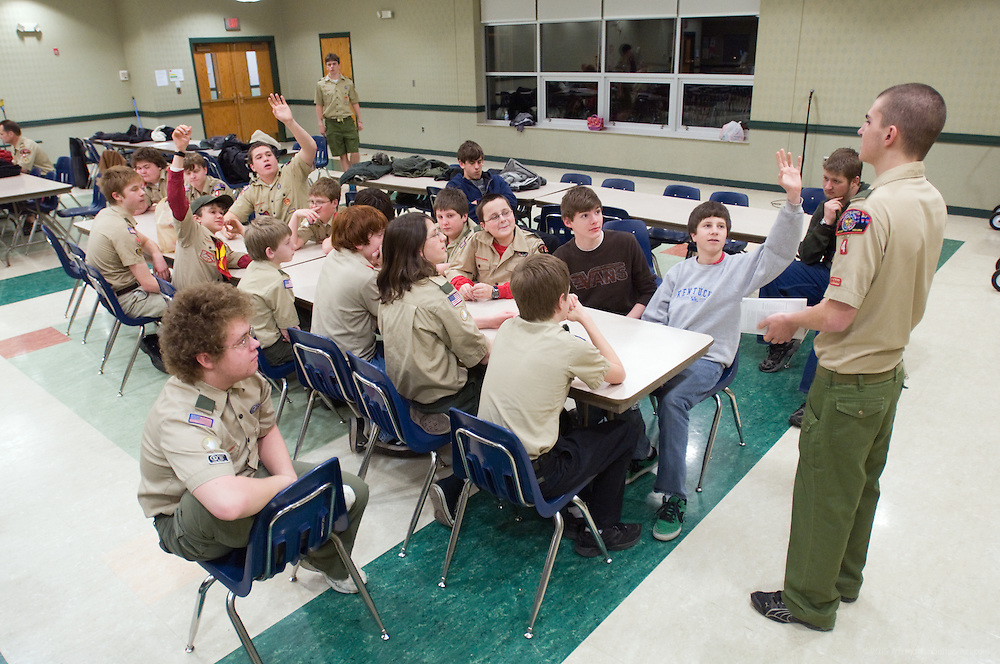 Alex Thomason teaches the Skiing merit badge. A regular Monday, March 1, 2010 meeting of Boy Scout Troop 4 at St. Agnes Catholic Church on Newburg Road. (Photo by Brian Bohannon)