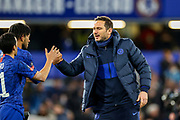 Chelsea Head Coach Frank Lampard celebrates with Chelsea midfielder Pedro (11) and Chelsea defender Reece James (24) at full time during The FA Cup match between Chelsea and Liverpool at Stamford Bridge, London, England on 3 March 2020.