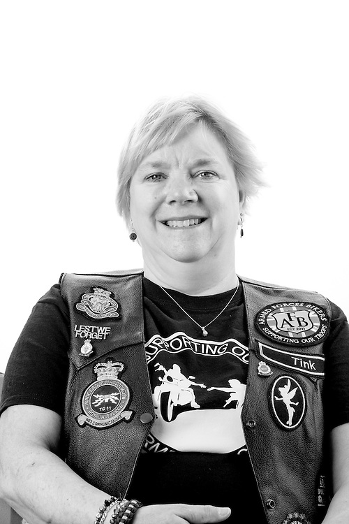 """Claire Baines, RAF, 1978-1989, Corporal, Comms TG11, Cyprus.  Claire met her husband Steve whilst they were both serving in Cyprus.  Claire is a member of the Armed Forces Bikers where she is known as 'Tink"""""""