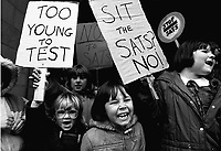 Primary school pupils protest against government proposals for testing, SATs....