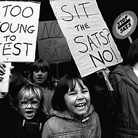 Parents and children form Sharrow Infants school, Sheffield marched to the Sheffield Education Office and handed in a petition protesting against SATS. 1 May 1991