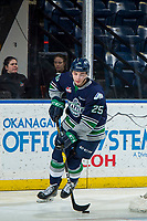 KELOWNA, CANADA - JANUARY 30:  Owen Williams #25 of the Seattle Thunderbirds skates with the puck from behind the net against the Kelowna Rockets on January 30, 2019 at Prospera Place in Kelowna, British Columbia, Canada.  (Photo by Marissa Baecker/Shoot the Breeze)
