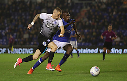 Marcus Maddison of Peterborough United gets away from Ousmane Fane of Oldham Athletic - Mandatory by-line: Joe Dent/JMP - 26/09/2017 - FOOTBALL - Sportsdirect.com Park - Oldham, England - Oldham Athletic v Peterborough United - Sky Bet League One