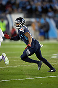 Tennessee Titans cornerback Malcolm Butler (21) chases the action during the week 14 regular season NFL football game against the Jacksonville Jaguars on Thursday, Dec. 6, 2018 in Nashville, Tenn. The Titans won the game 30-9. (©Paul Anthony Spinelli)