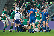 Sebastien Vahaamahina (FRA) made a sporting mistake and gave the penalty to Irland, Jonathan Sexton (IRL), Paul Gabrillagues (FRA), Henry Chavancy (FRA) desagree during the NatWest 6 Nations 2018 rugby union match between France and Ireland on February 3, 2018 at Stade de France in Saint-Denis, France - Photo Stephane Allaman / ProSportsImages / DPPI