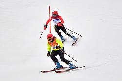 SANA Eleonor B2 BEL Guide: SANA Chloe competing in the ParaSkiAlpin, Para Alpine Skiing, Slalom at the PyeongChang2018 Winter Paralympic Games, South Korea.