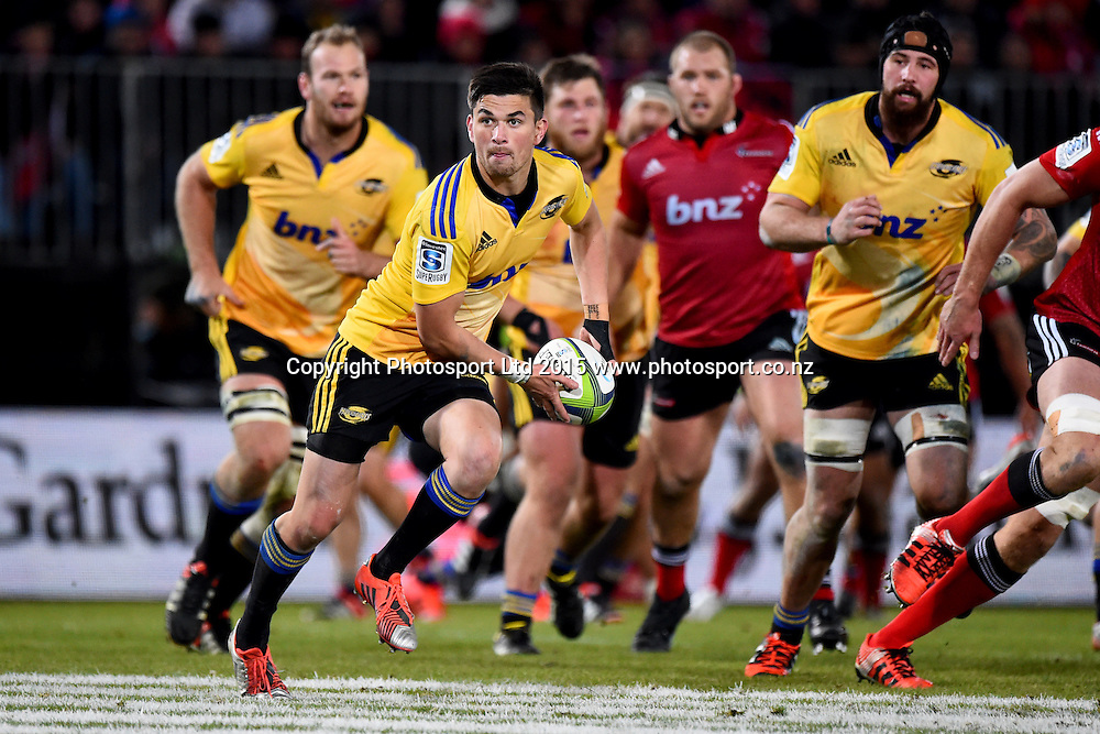 Hurricanes player Otere Black during their Investec Super Rugby game Crusaders v Hurricanes. Trafalgar Park, Nelson, New Zealand. Friday 29 May 2015. Copyright Photo: Chris Symes / www.photosport.co.nz