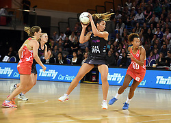 New Zealand's Grace Rasmussen, centre, against England in the Taini Jamison Trophy netball series match at Te Rauparaha Arena, Porirua, New Zealand, Thursday, September 07, 2017. Credit:SNPA / Ross Setford  **NO ARCHIVING**
