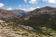Highway 120 winds down the mountains from Tioga Pass, Yosemite National Park, CA.