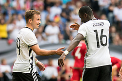 04.06.2016, Veltins Arena, Gesenkirchen, GER, Testspiel, Deutschland vs Ungarn, im Bild Mario Goetze (GER #19) und Antonio Ruediger (GER #16) beim Torjubel nach dem Treffer zum 1:0 // during the International Friendly Match between Germany and Hungary at the Veltins Arena in Gesenkirchen, Germany on 2016/06/04. EXPA Pictures &copy; 2016, PhotoCredit: EXPA/ Eibner-Pressefoto/ Schueler<br /> <br /> *****ATTENTION - OUT of GER*****