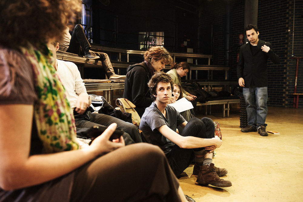 """PARIS, FRANCE. MAY 26, 2011. The theater class is preparing a play about the LAP: """"myth and reality"""". At the """"LAP"""" (Lycee Autogere de Paris, lit. """"self-managed college of Paris""""). Photo: Antoine Doyen"""