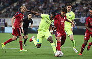 Taiwo Awoniyi (Gent) and Pablo Castro (Bordeaux) fight for the ball during the first leg of the Uefa Europa League play-off match between Kaa Gent and Girondins de Bordeaux on August 23, 2018 in Ghent, Belgium, Photo Vincent Van Doornick / Isosport / Pro Shots / ProSportsImages / DPPI