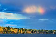 Rainbow over Waskasiu Lake<br /> Prince Albert National Park<br /> Saskatchewan<br /> Canada