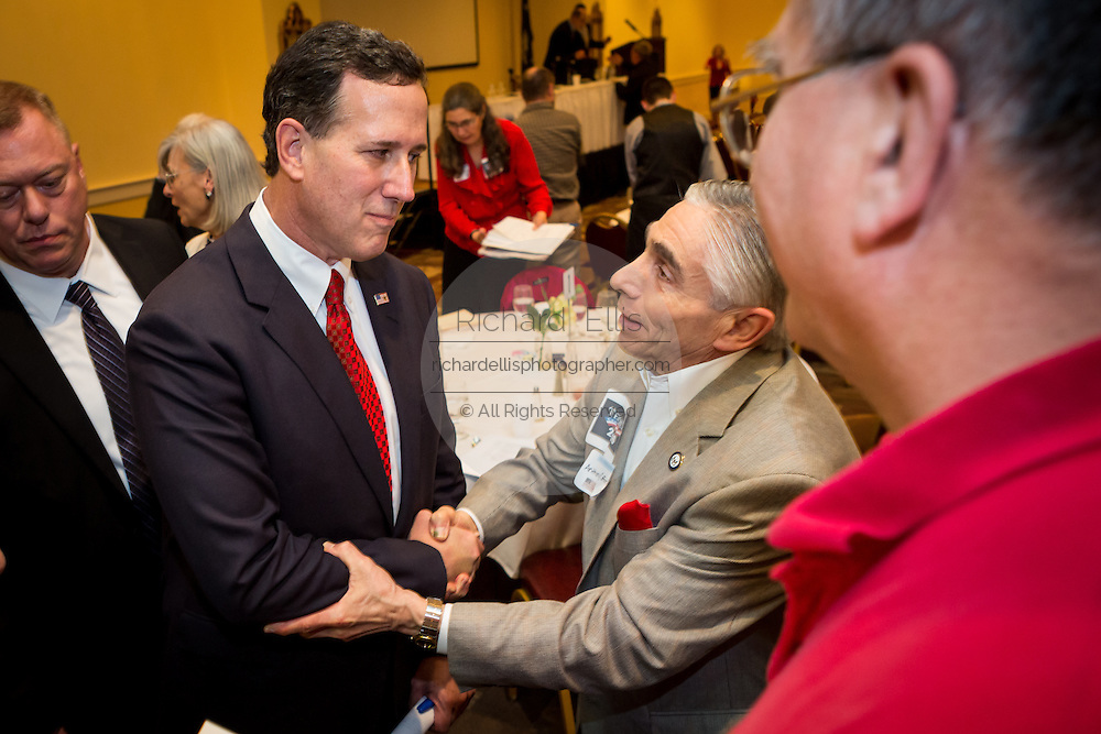 Former U.S. Senator Rick Santorum greets supporters after addressing the South Carolina National Security Action Summit on March 14, 2015 in West Columbia, South Carolina.