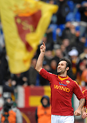 21.02.2010, Stadio Olimpico, Rom, ITA, Serie A, AS Rom vs Catania, im Bild Esultanza dopo il gol di MIRKO VUCINIC .Mirko VUCINIC celebrates., EXPA Pictures © 2010 for Austria Croatia and Germany only, Photographer EXPA / Inside Foto / Staccioli / for Slovenia SPORTIDA PHOTO AGENCY.
