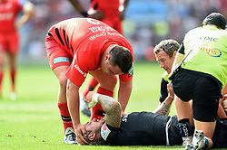 Jamie George of Saracens commiserates Jack Nowell of Exeter Chiefs after an injury - Mandatory byline: Patrick Khachfe/JMP - 07966 386802 - 01/06/2019 - RUGBY UNION - Twickenham Stadium - London, England - Exeter Chiefs v Saracens - Gallagher Premiership Final