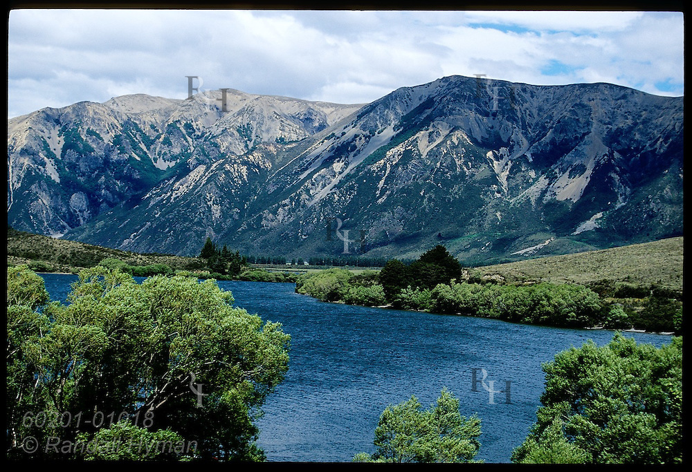 View from State Highway 73 of alpine river on the eastern slopes of the Southern Alps of New Zealand.