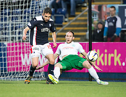 Falkirk's Luke Leahy and Hibernian's David Gray.<br /> haft time ; Falkirk 0 v 0 Hibernian, Scottish Championship game played 6/12/2014 at The Falkirk Stadium .